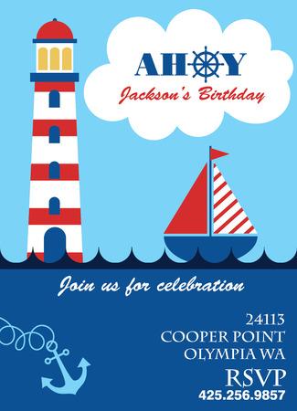 ahoy: sail boat card
