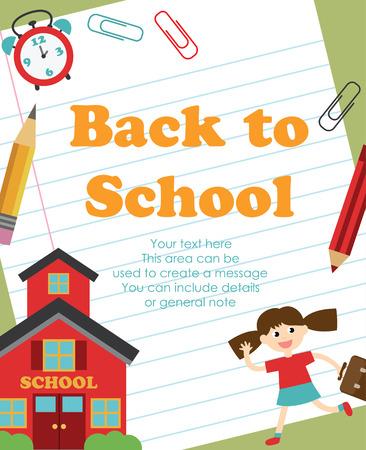 classroom supplies: back to school card design. vector illustration