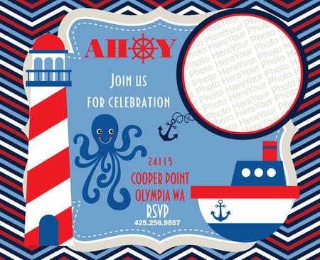 ahoy party invitation card. vector illustration Vector