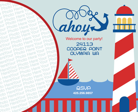 party invitation: tarjeta de la invitaci�n del partido ahoy. ilustraci�n vectorial