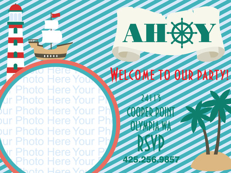 scroll wheel: ahoy party invitation card. vector illustration