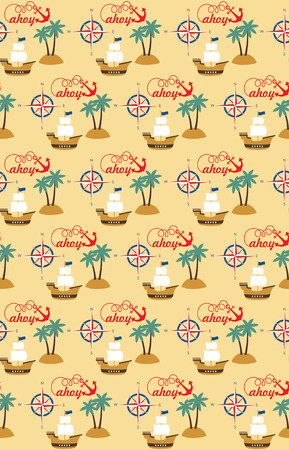 sea seamless pattern design. vector illustration Vector