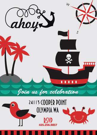 pirate party invitation card design. vector illustration Vector
