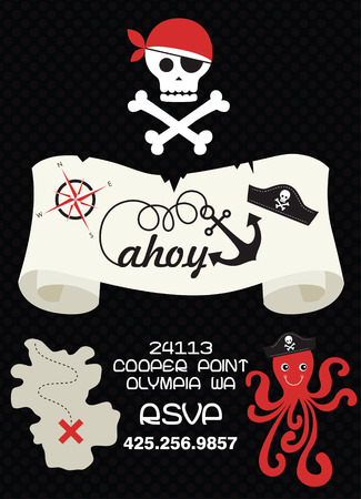 ahoy: pirate party invitation card design. vector illustration Illustration
