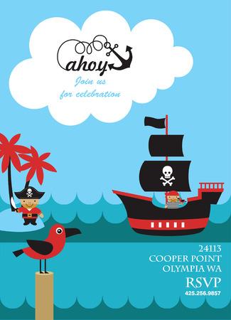 invitacion fiesta: diseño de tarjeta de invitación de la fiesta pirata. ilustración vectorial