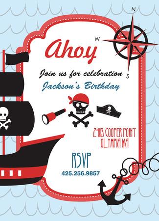ships at sea: pirate party invitation card design. vector illustration Illustration