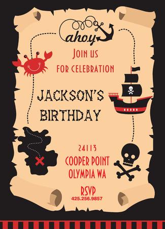 pirate party invitation card design. vector illustration Illustration
