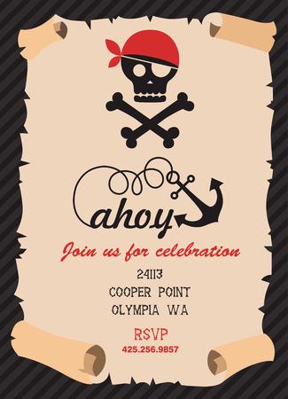 invitación a fiesta: diseño de tarjeta de invitación de la fiesta pirata. ilustración vectorial