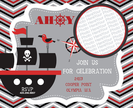 Pirate party invitation card design vector illustration royalty pirate party invitation card with place for photo vector illustration vector stopboris Gallery