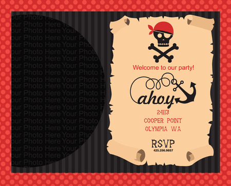 Pirate party invitation card with place for photo vector pirate party invitation card with place for photo vector illustration vector stopboris