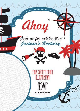 pirate party invitation card with place for photo. vector illustration Vector