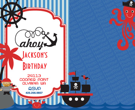 ships at sea: pirate party invitation card with place for photo. vector illustration Illustration