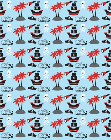pirate seamless pattern design. vector illustration Vector