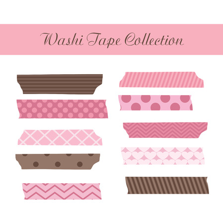 sticky tape: cute washi tape collection. vector illustration