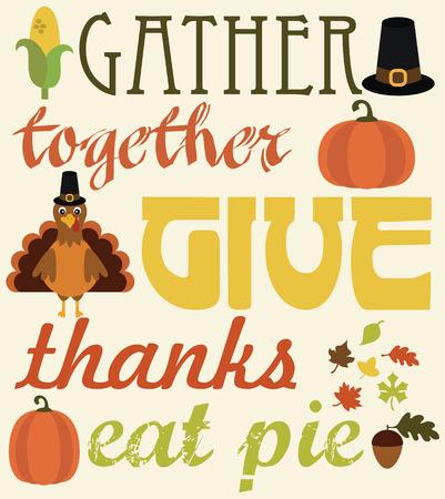 thankful: thanksgiving card design. vector illustration Illustration