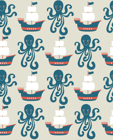 ahoy: seamless sea pattern design. vector illustration Illustration