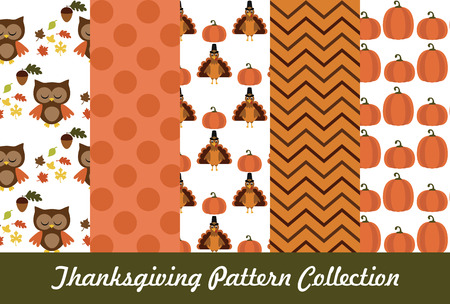 thanksgiving pattern collection. vector illustration Vector