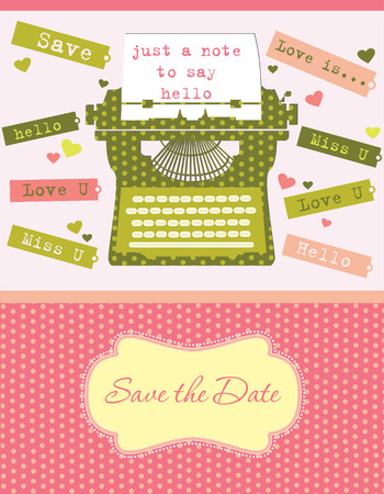 love letters: cute card with typewriter. vector illustration