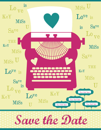 cute card with typewriter. vector illustration Vector
