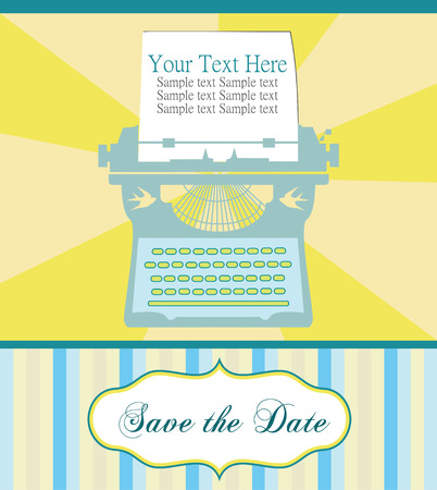 cute card with typewriter. vector illustration