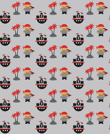 seamless pirate pattern design. vector illustration Vector