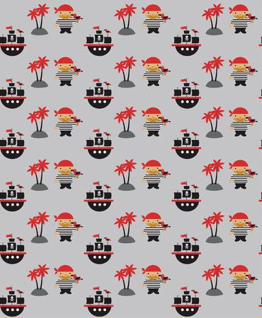 ahoy: seamless pirate pattern design. vector illustration Illustration