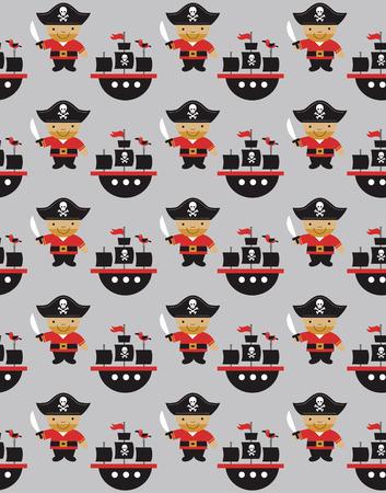 seamless pirate pattern design. vector illustration Vector
