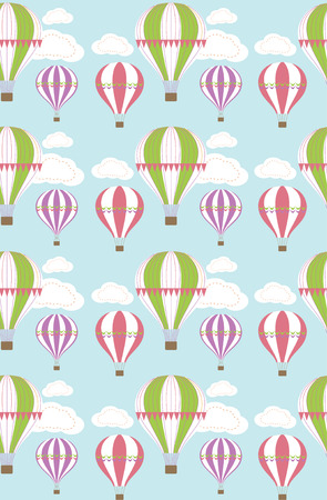 air balloon seamless pattern design. vector illustration Vector
