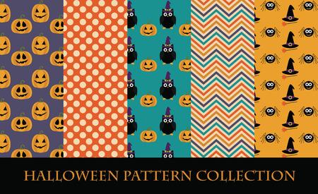 halloween pattern collection. vector illustration Illustration