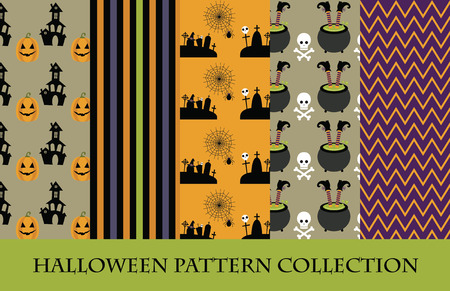 halloween pattern collection. vector illustration Vector