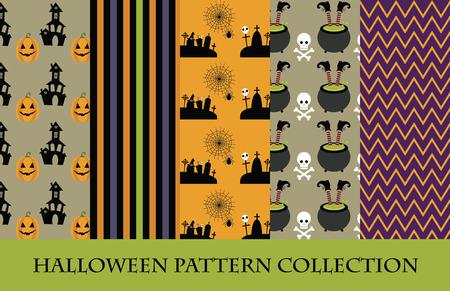 cemetry: halloween pattern collection. vector illustration Illustration