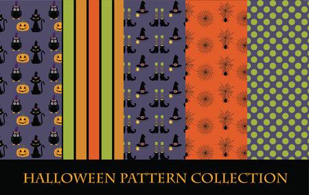 halloween pattern collection. vector illustration Vector
