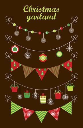 christmas deco: christmas garland collection. vector illustration