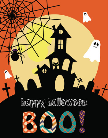 halloween black cat: happy halloween card design. vector illustration