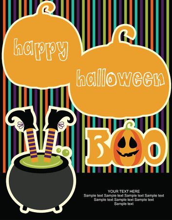 postcard background: happy halloween card design. vector illustration