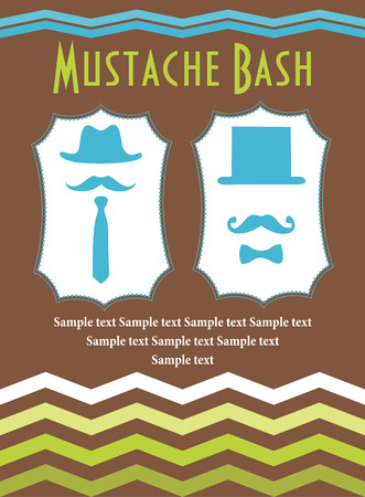 bash: mustache bash card design. vector illustration Illustration