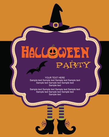 invitación a fiesta: diseño de la tarjeta de halloween feliz. ilustración vectorial