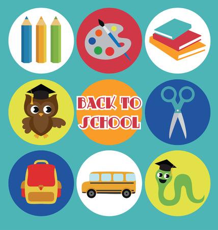 graduacion niños: volver al diseño de la tarjeta de la escuela. ilustración vectorial