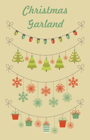christmas garland: christmas garland collection. vector illustration