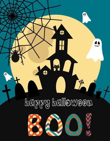 happy halloween card design.