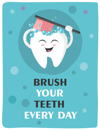 Tooth with a toothbrush, smiling Illustration