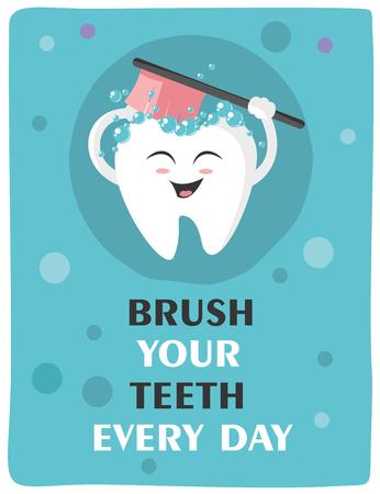 Tooth with a toothbrush, smiling Ilustração
