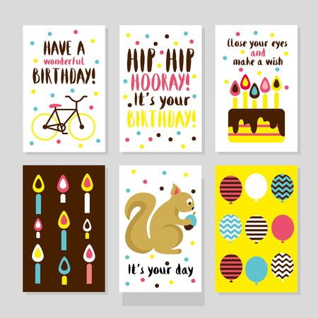balloon cartoon: Set of 6 cute creative cards templates with Happy birthday theme design. Hand Drawn card for birthday, anniversary, party invitations, scrapbooking. Vector illustration