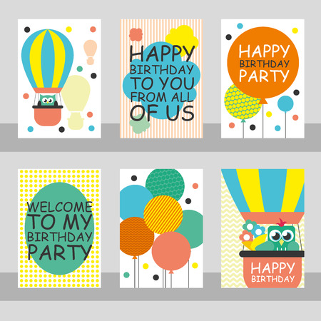 happy children: Set of 6 cute creative cards templates with Happy birthday theme design. Hand Drawn card for birthday, anniversary, party invitations, scrapbooking. Vector illustration