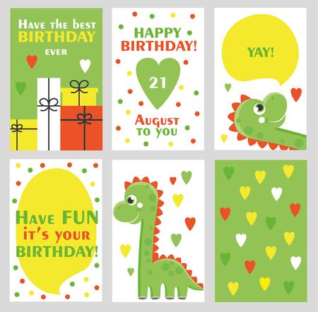Ensemble de 6 mignons cartes créatives modèles avec design Happy thème d'anniversaire. Main carte Dessiné pour anniversaire, invitations de partie, scrapbooking. Vector illustration Vecteurs