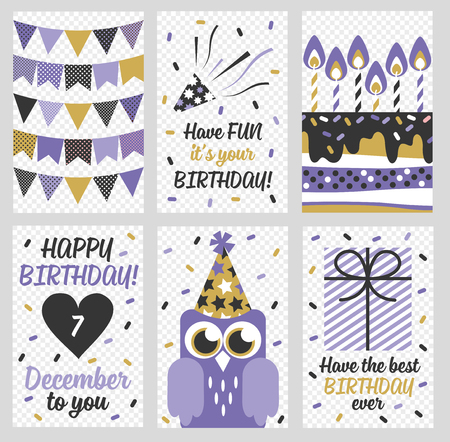 anniversary card: Set of 6 cute creative cards templates with Happy birthday theme design. Hand Drawn card for birthday, anniversary, party invitations, scrapbooking. Vector illustration