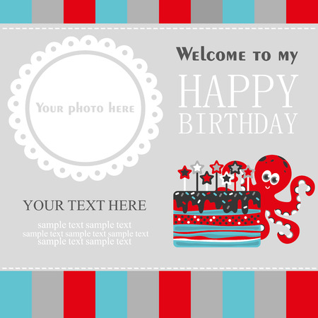 cute cards: cute creative cards templates with Happy birthday theme design. Hand Drawn card for birthday, anniversary, party invitations, scrapbooking. Vector illustration Illustration