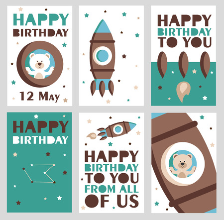 cute cards: Set of 6 cute creative cards templates with Happy birthday theme design. Hand Drawn card for birthday, anniversary, party invitations, scrapbooking. Vector illustration