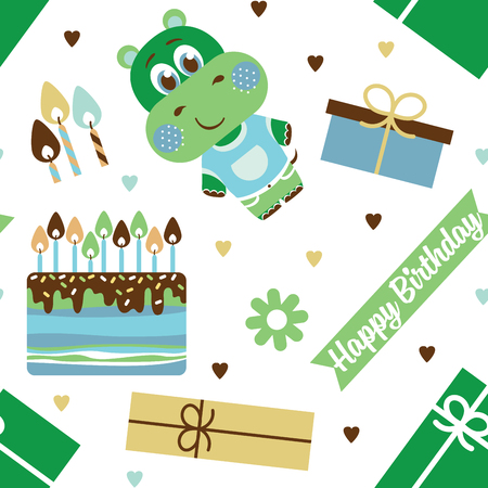 Happy birthday. Pattern with Hippo vector illustration Illustration