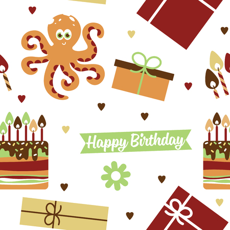 children party: Happy birthday. Pattern with octopus vector illustration Illustration
